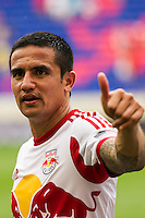 Tim Cahill (17) of the New York Red Bulls. The New York Red Bulls defeated the Houston Dynamo 2-0 during a Major League Soccer (MLS) match at Red Bull Arena in Harrison, NJ, on June 30, 2013.