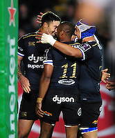 Matt Banahan of Bath Rugby celebrates his try with team-mates. European Rugby Challenge Cup match, between Bath Rugby and Bristol Rugby on October 20, 2016 at the Recreation Ground in Bath, England. Photo by: Patrick Khachfe / Onside Images