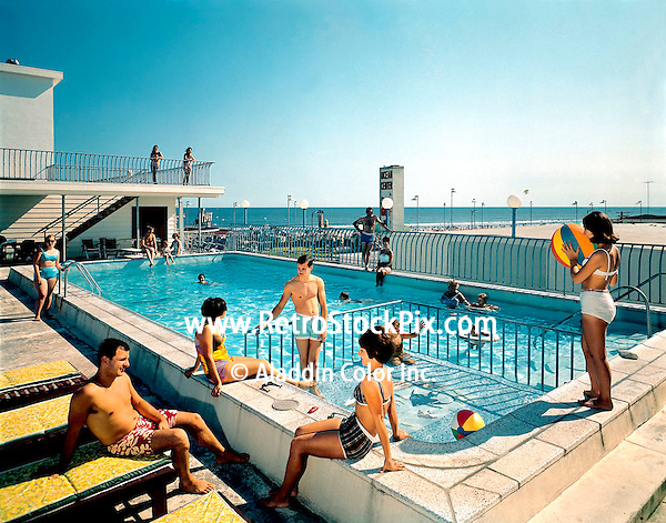 Shore Plaza Motel in Wildwood, NJ. Families lounging by the Kiddie Pool. 1960's