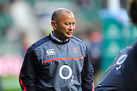 England Rugby Head Coach Eddie Jones looks on during the pre-match warm-up. Old Mutual Wealth Series International match between England and Argentina on November 26, 2016 at Twickenham Stadium in London, England. Photo by: Patrick Khachfe / Onside Images