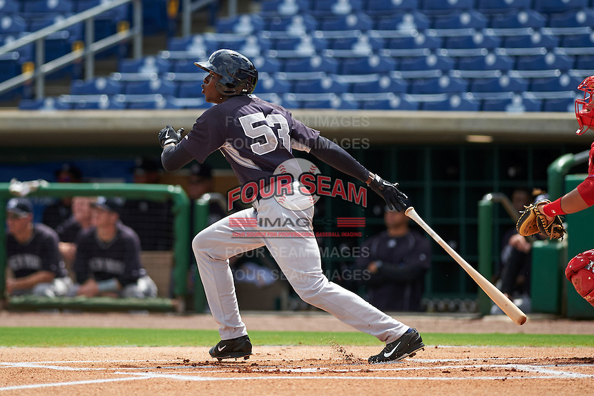 New York Yankees Esteven Florial (53) during an instructional league game against the Philadelphia Phillies on September 29, 2015 at Brighthouse Field in Clearwater, Florida.  (Mike Janes/Four Seam Images)