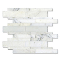 Del Greco shown in a mix of honed and polished Calacatta Radiance is part of New Ravenna's Studio Line. All mosaics in this collection are ready to ship within 48 hours.<br />