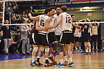 27 APR 2014: Springfield College celebrates a point against Juniata College during the Division III Men's Volleyball Championship held at the Kennedy Sports Center in Huntingdon, PA. Springfield defeated Juniata 3-0 to win the national title.  Mark Selders/NCAA Photos
