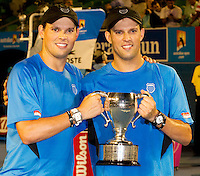 Bob & Mike Bryan (USA) (1) against Mahesh Bhupathi & Leander Paes (IND) (3) in the Final of the men's doubles. Bob & Mike Bryan beat Mahesh Bhupathi & Leander Paes 6-3 6-4..International Tennis - Australian Open  -  Melbourne Park - Melbourne - Day 13 - Sat 29th January 2011..© Frey - AMN Images, Level 1, Barry House, 20-22 Worple Road, London, SW19 4DH.Tel - +44 208 947 0100.Email - Mfrey@advantagemedianet.com.Web - www.amnimages.photshelter.com