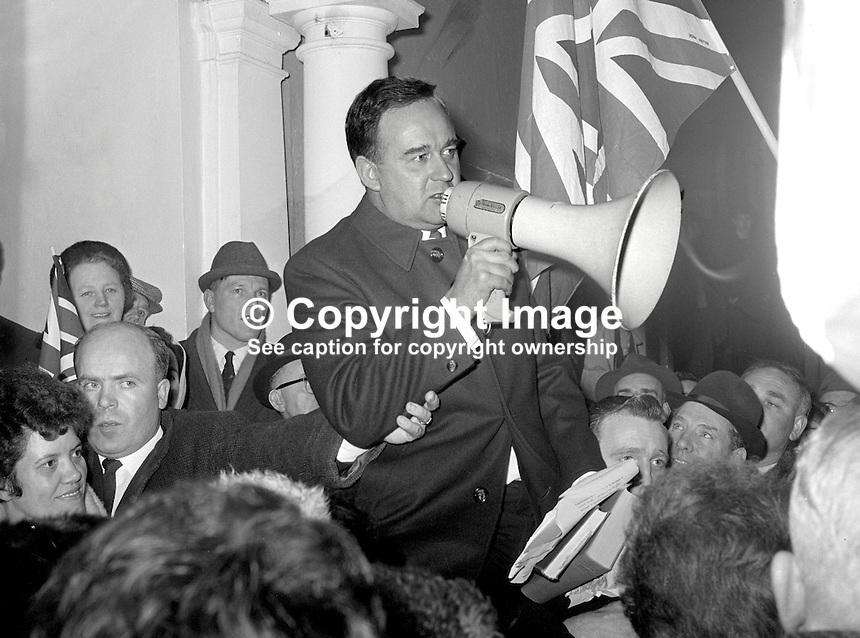 William Craig, Ulster Unionist, MP, recently sacked Minister of Home Affairs, N Ireland Parliament, Stormont, is carried shoulder-high by supporters at a private Ulster Unionist party meeting in Carrickfergus, Co Antrim. 196901000010.<br />
