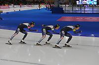 SCHAATSEN: BERLIJN: Sportforum, 07-12-2013, Essent ISU World Cup, Team Pursuit, Cheol-Min Kim, Seung-Hoon Lee, Hyong-Jun Joo, (KOR), ©foto Martin de Jong