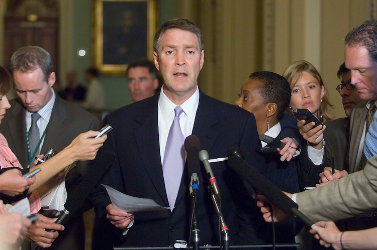 09/19/06--Senate Majority Leader Bill Frist, R-Tenn., talks to the media before the weekly Senate Republican policy luncheon at the U.S. Capitol, which Vice President Dick Cheney attended. Senior Republicans on the Senate Armed Services Committee, including McCain, are not satisfied with White House alterations to legislation that would govern trials of detainees accused of terrorism and will make a counteroffer Tuesday, Senate GOP aides said. And to further complicate negotiations, the chairman of the Senate Judiciary Committee wants Majority Leader Bill Frist, R-Tenn., to give his panel a crack at the bill too. The White House proposal, submitted on Monday to the Armed Services group, would change just one element of legislation (S 3861) that President Bush proposed to guide the treatment and trials of enemy combatants captured in the war on terror. It would tweak a provision defining U.S. obligations for treating detainees under the Geneva Conventions, an aide said. But the proposed change does not satisfy Chairman John W. Warner, R-Va.; John McCain, R-Ariz.; and Lindsey Graham, R-S.C., who have led a revolt based on their belief that a unilateral change to the Geneva Conventions could imperil U.S. troops captured by other nations or terror groups. The Armed Services Committee on Sept. 14 approved its own version of detainee legislation (S 3901). Congressional Quarterly Photo by Scott J. Ferrell