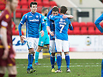 St Johnstone v Motherwell&hellip;20.02.16   SPFL   McDiarmid Park, Perth<br />Tam Scobbie gets a hug from Chris Millar at full time<br />Picture by Graeme Hart.<br />Copyright Perthshire Picture Agency<br />Tel: 01738 623350  Mobile: 07990 594431
