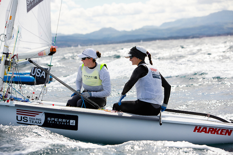 SANTANDER, SPAIN - SEPTEMBER 18:  470 Women - USA1712 - Anne Haeger / Briana Provancha in action during Day 7 of the 2014 ISAF Sailing World Championships on September 18, 2014 in Santander, Spain.  (Photo by MickAnderson/SAILINGPIX via Getty Images)