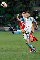Melbourne, 28 October 2016 - JOSHUA ROSE (3) of Melbourne City kicks the ball in the round 4 match of the A-League between Melbourne City and Adelaide United at AAMI Park, Melbourne, Australia. Melbourne won 2-1 (Photo Sydney Low / sydlow.com)