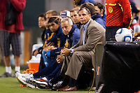 LA Galaxy head coach Bruce Arena. The LA Galaxy defeated the Philadelphia Union 1-0 at Home Depot Center stadium in Carson, California on  April  2, 2011....