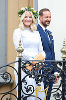 TRONDHEIM, NORWAY - JUNE 23:  Crown Princess Mette-Marit of Norway, and Crown Prince Haakon of Norway, attend a Garden Party at the Royal Residence, Stiftsgarden,  on a visit to Trondheim, during the King and Queen of Norway's Silver Jubilee Tour, on June 23, 2016 in Trondheim, Norway.