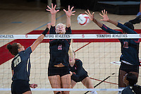 STANFORD, CA - September 9, 2016: Kathryn Plummer, Inky Ajanaku at Maples Pavilion. The Purdue Boilermakers defeated the Stanford Cardinal 3 - 2.