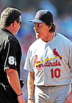 29 August 2010: St. Louis Cardinals Manager Tony La Russa discusses a brush back on Matt Holliday by Drew Storen during game action against the Washington Nationals at Nationals Park in Washington, DC. The Nationals defeated the Cards 4-2 to take the final game of their 4-game series. Mandatory Credit: Ed Wolfstein Photo