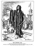 """The Stricken City. [Your help is earnestly asked for the starving people of Warsaw. Subscriptions for Lady Sinclair's appeal should be sent to Coutts and Co., 440, Strand, London, WC2, marked """"For the credit of Lady Sinclair's Warsaw Relief Fund.""""] (Death walks with his cat-o-nine-tails through the Polish city of Warsaw as starving people pray for help)"""