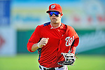 2 March 2011: Washington Nationals outfielder Bryce Harper returns to the dugout during Spring Training action against the Florida Marlins at Space Coast Stadium in Viera, Florida. The Nationals defeated the Marlins 8-4 in Grapefruit League action. Mandatory Credit: Ed Wolfstein Photo