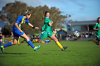 Vanessa Holmes in action for KCU during the Knockout Cup football match between Kapiti Coast United and Victoria University School of Wellington AFC at Weka Park in Raumati, New Zealand on Sunday, 14 May 2017. Photo: Dave Lintott / lintottphoto.co.nz