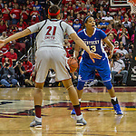 Sophomore guard Bria Goss sets up her offense as Louisville sophomore guard Bria Smith sets up her defense. in Louisville, Ky., on Sunday, December, 2, 2012. Photo by James Holt | Staff