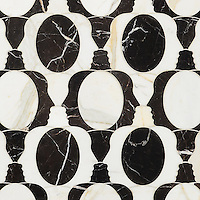 Janus, a waterjet mosaic, shown in polished Calacatta Tia and Saint Laurent, is part of the Illusions™ Collection by Sara Baldwin Designs for New Ravenna.
