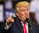 JACKSONVILLE, FL - AUGUST 03:  Republican presidential nominee Donald Trump speaks during a rally at the Jacksonville Veterans Memorial Arena on August 3, 2016 in Jacksonville, Florida. (Photo by Mark Wallheiser/Getty Images)