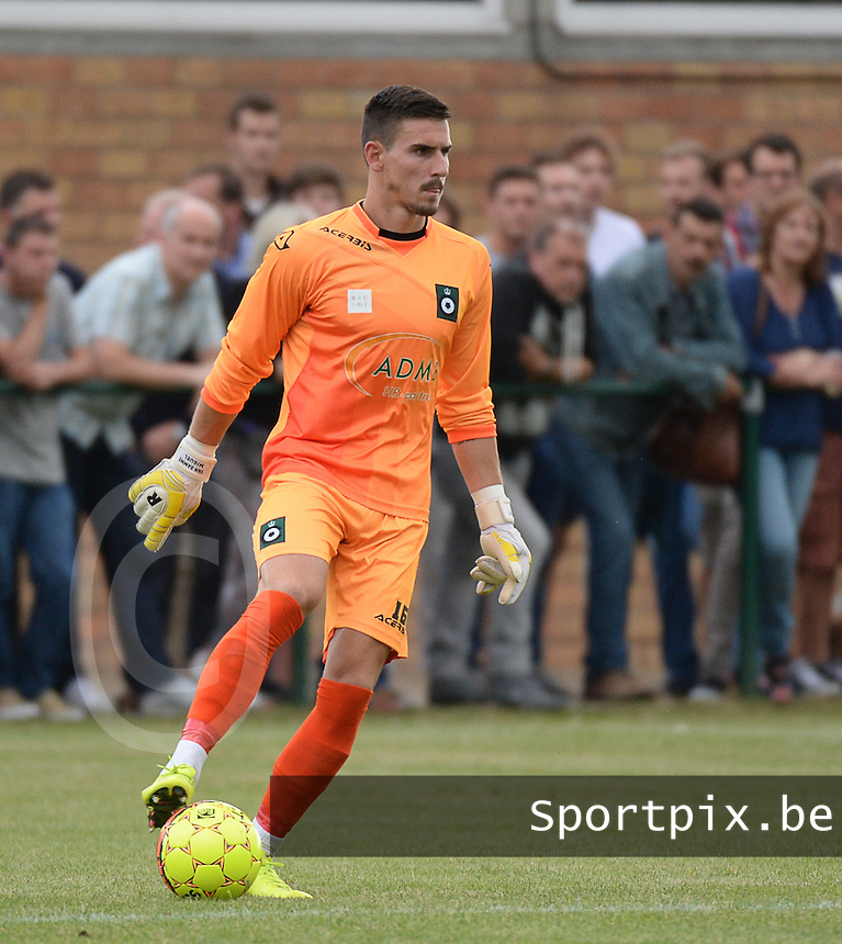 20150715 - LICHTERVELDE , BELGIUM : Cercle's goalkeeper Miguel Van Damme pictured during a friendly match between Belgian first division team KV Kortrijk and Belgian second division soccer team Cercle Brugge , during the preparations for the 2015-2016 season, Wednesday 15th July 2015 in Lichtervelde . PHOTO DAVID CATRY