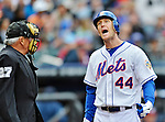 11 April 2012: New York Mets outfielder Jason Bay discusses an outside called strike by Larry Vanover during action against the Washington Nationals at Citi Field in Flushing, New York. The Nationals shut out the Mets 4-0 to take the rubber match of their 3-game series. Mandatory Credit: Ed Wolfstein Photo