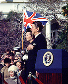 "Washington, DC - (FILE) -- United States President Ronald Reagan welcomes Prime Minister Margaret Thatcher of Great Britain for her first official visit of his presidency on the South Lawn of the White House in Washington, D.C. on Thursday, February 26, 1981..Credit: Benjamin E. ""Gene"" Forte - CNP"