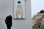 Giant reproduction of an Egon Schiele painting on the exterior of the Leopold Museum in the MuseumsQuartier (MQ).