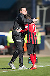 Dundee v St Johnstone...25.04.15   SPFL<br /> Danny Swanson gets a pat on the back from Tommy Wright after being subbed<br /> Picture by Graeme Hart.<br /> Copyright Perthshire Picture Agency<br /> Tel: 01738 623350  Mobile: 07990 594431