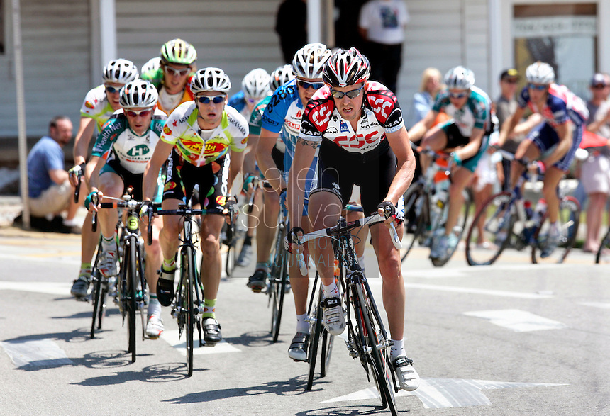 Allan Johansen of Team CSC leads a break through Dawsonville, Ga. during Stage 6 of the Ford Tour de Georgia.<br />