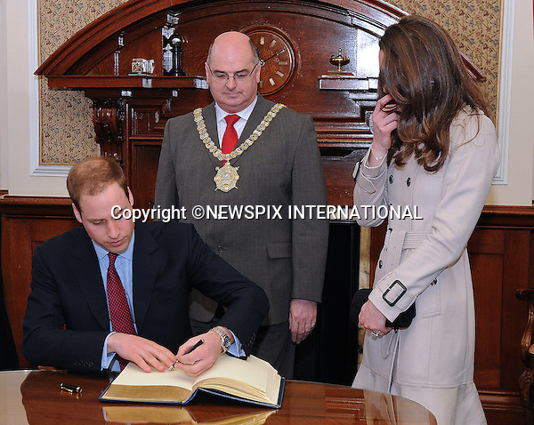 "PRINCE WILLIAM & KATE MIDDLETON_Visit Northern Ireland.Prince William and Miss Catherine Middleton visit City Hall Belfast_08/03/2011.Mandatory Photo Credit: ©Graham-Harrison/Newspix International..**ALL FEES PAYABLE TO: ""NEWSPIX INTERNATIONAL""**..PHOTO CREDIT MANDATORY!!: ©NEWSPIX INTERNATIONAL (Failure to credit will incur a surcharge of 100% of reproduction fees)..IMMEDIATE CONFIRMATION OF USAGE REQUIRED:.Newspix International, 31 Chinnery Hill, Bishop's Stortford, ENGLAND CM23 3PS.Tel:+441279 324672  ; Fax: +441279656877.Mobile:  0777568 1153.e-mail: info@newspixinternational.co.uk"
