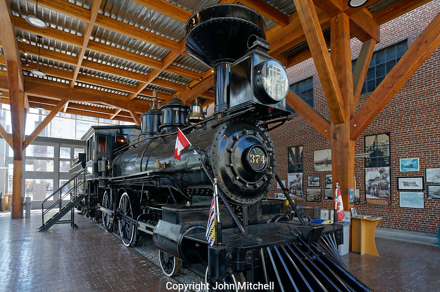 Restored CPR Engine 374 at the Roundhouse in Yaletown, Vancouver, British Columbia, Canada.