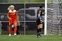 Piscataway, NJ - Saturday May 20, 2017: Rachel Daly, Christina Unkel during a regular season National Women's Soccer League (NWSL) match between Sky Blue FC and the Houston Dash at Yurcak Field.  Sky Blue defeated Houston, 2-1.