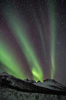 Aurora borealis over the Brooks Range mountains in Alaska's Arctic.