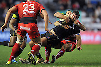 Nathan Catt of Bath Rugby is tackled to ground. European Rugby Champions Cup match, between RC Toulon and Bath Rugby on January 10, 2016 at the Stade Mayol in Toulon, France. Photo by: Patrick Khachfe / Onside Images