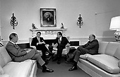 Oval Office meeting on January 24, 1971 with (left to right): United States Vice President Spiro T. Agnew;  Ronald Reagan, Governor of California; United States President Richard M. Nixon; and United States Attorney General John Mitchell..