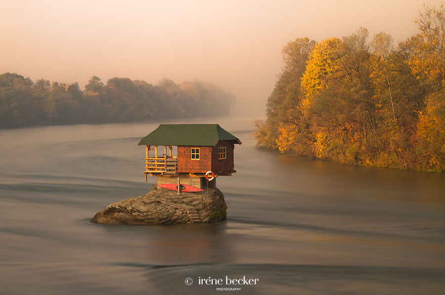 House in the middle of Drina River near the town of Bajina Basta, Serbia.