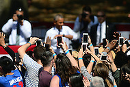 Philadelphia, PA - September 13, 2016: Supporters take cell phone pictures of U.S. President Barack Obama as he enters the Eakins Oval park in Philadelphia, Pennsylvania, September 13, 2016, during a campaign stop in support of Hillary Clinton for president.  (Photo by Don Baxter/Media Images International)