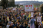 War protesters and march to Gas Works Park protesting the US involvement in the Persian Gulf  and the buid up to war against Irag January 15 deadline 1991 Seattle Washington State USA
