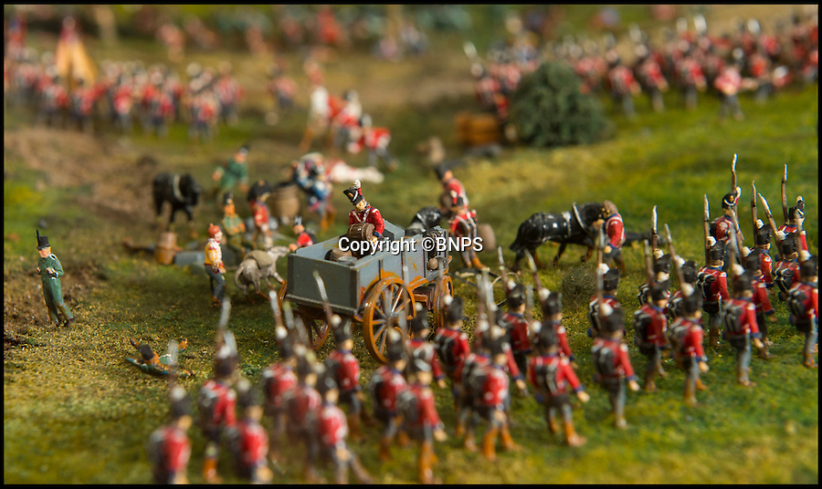 BNPS.co.uk (01202 558833)<br /> Pic: PhilYeomans/BNPS<br /> <br /> The public can now view the restored diorama.<br /> <br /> Historic battle brought back to life...<br /> <br /> A stunning diorama of the battle of Waterloo has been restored to its former glory after a painstaking cleaning operation to remove nearly 50 years of dust.<br /> <br /> The sweeping panorama contain's 21,500 figures and nearly 10,000 horses, each of which has been meticulously cleaned by hand over the last five months by husband and wife team Kelvin and Mary Thatcher from Norfolk.<br /> <br /> The pristine model has now gone back on display at the refurbished Royal Green jackets museum in Winchester.<br /> <br /> A sobering fact is that there were over twice as many casualties in the actual battle as there are figures on the diorama.