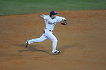 Ole Miss' Blake Newalu (6) throws to first for an out at Oxford-University Stadium in Oxford, Miss. on Friday, March 4, 2010.