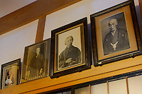 Photos of past owners of the Fujimie tea shop, founded 1868. Murakami-city, Niigata Prefecture, Japan, February 3, 2013. The snowy city in Northern Japan is famous for hot-springs, tea and salt salmon.