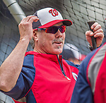21 May 2014: Washington Nationals batting coach Rick Schu chats at the batting cage prior to a game between the Cincinnati Reds and the Washington Nationals at Nationals Park in Washington, DC. The Reds edged out the Nationals 2-1 to take the rubber match of their 3-game series. Mandatory Credit: Ed Wolfstein Photo *** RAW (NEF) Image File Available ***