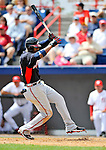 6 March 2011: Atlanta Braves' outfielder Jason Heyward is hit by a J.D. Martin pitch during a Spring Training game against the Washington Nationals at Space Coast Stadium in Viera, Florida. The Braves shut out the Nationals 5-0 in Grapefruit League action. Mandatory Credit: Ed Wolfstein Photo