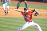 Ole Miss' Aaron Greenwood (44) pitches vs. Rhode Island at Oxford-University Stadium in Oxford, Miss. on Sunday, February 24, 2013. Ole Miss won 5-3 to improve to 7-0.