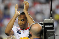 Thierry Henry (14) of the New York Red Bulls during pre-game introductions. Tottenham Hotspur F. C. defeated the New York Red Bulls 2-1 during a Barclays New York Challenge match at Red Bull Arena in Harrison, NJ, on July 22, 2010.