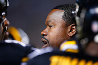 Outside linebackers coach Joey Porter of the Pittsburgh Steelers in action against the Indianapolis Colts during the game at Heinz Field on December 6, 2015 in Pittsburgh, Pennsylvania. (Photo by Jared Wickerham/DKPittsburghSports)