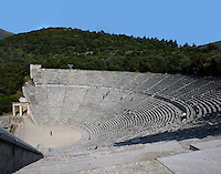 EPIDAURUS, GREECE - APRIL 14 : A view from the side of the Orchestra and Cavea of the Theatre, on April 14, 2007 in Epidaurus, Greece. The Theatre, designed by Polykleitos the Younger, was built in the late 4th century BC and extended in the Hellenistic period. It was rediscovered in 1881 and significantly restored in the 1950s.  It has the three main features of a Greek theatre: the orchestra, a sunken round stage on which someone is standing; the skene, a raised rectangular stage beyond the orchestra; and the cavea, a raked semi-circular auditorium with radiating diazomas. The theatre is renowned for its accoustics thanks to the symmetry of the cavea, which nestles in the wooded hills, seen here in the afternoon light. (Photo by Manuel Cohen)