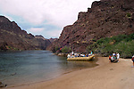 Rafting, no model release, on the Colorado River below Hoover Dam on border of Arizona, AZ, Nevada, NV, tourism, vacation, sports, Beach, sky, water, mountain, landscape, image nv424-18484.Photo copyright: Lee Foster, www.fostertravel.com, lee@fostertravel.com, 510-549-2202
