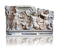 2nd Cent. AD Roman relief sculpture depicting the struggle of Athena ( the goddess of wisdom, skill & warfare) fighting the Gigantes ( Giants) . From Aphrodisias (Geyne, Ayden). Istanbul Archaeological Museum, Turkey, Inv. 1613aT , Cat. Mendel 512.